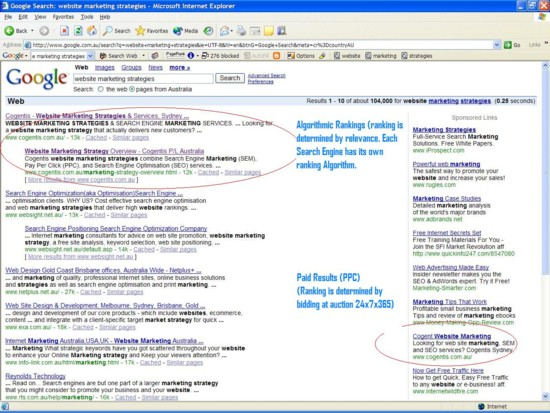 The difference between SEM and SEO - Google screenshot